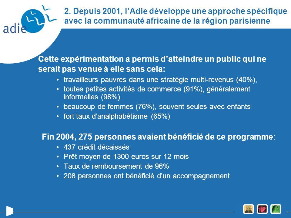 2. Depuis 2001, lAdie développe une approche spécifique avec la communauté africaine de la région parisienne Cette expérimentation a permis datteindre
