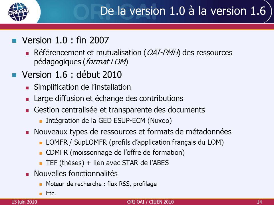 De la version 1.0 à la version 1.6 Version 1.0 : fin 2007 Référencement et mutualisation (OAI-PMH) des ressources pédagogiques (format LOM) Version 1.