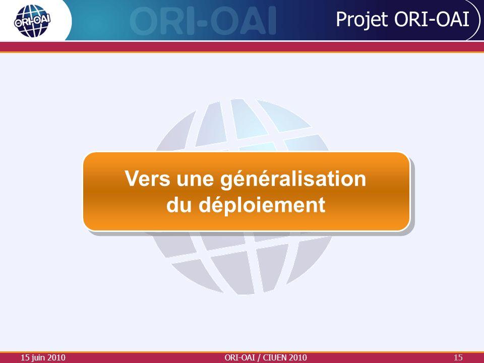 Projet ORI-OAI 15 juin 2010ORI-OAI / CIUEN 201015 Vers une généralisation du déploiement Vers une généralisation du déploiement