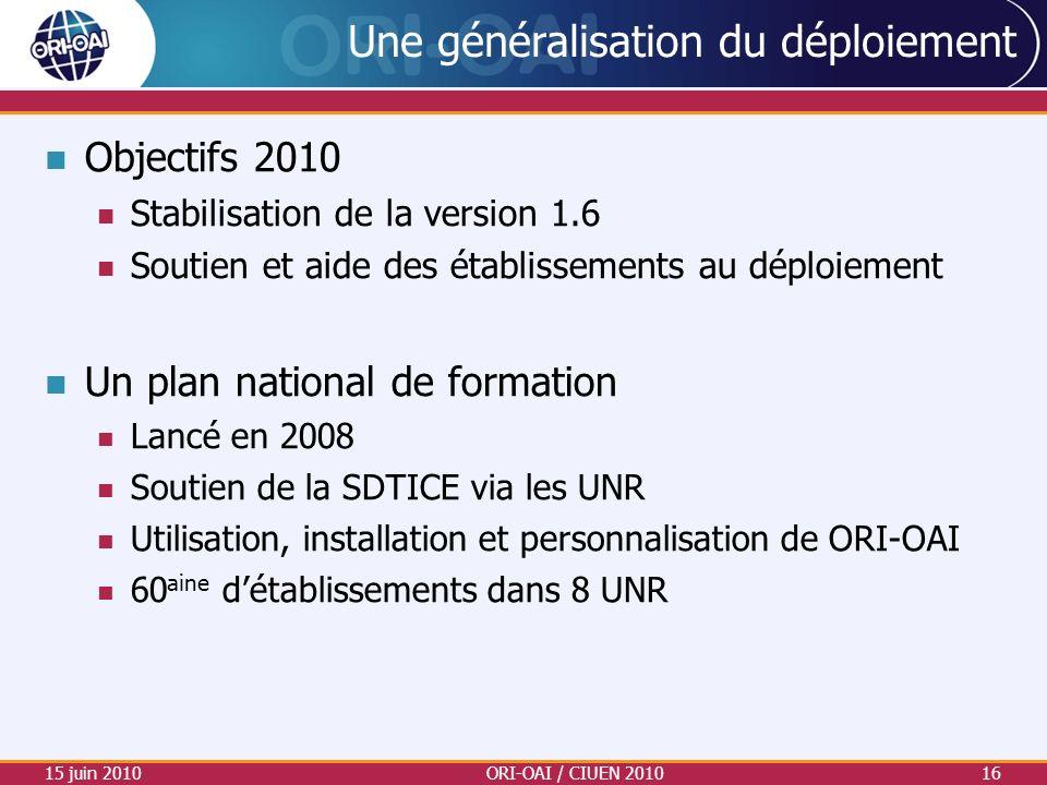 Une généralisation du déploiement Objectifs 2010 Stabilisation de la version 1.6 Soutien et aide des établissements au déploiement Un plan national de