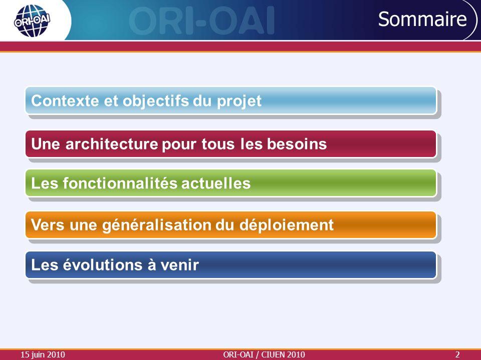 Sommaire 15 juin 2010ORI-OAI / CIUEN 20102 Vers une généralisation du déploiement Les fonctionnalités actuelles Une architecture pour tous les besoins