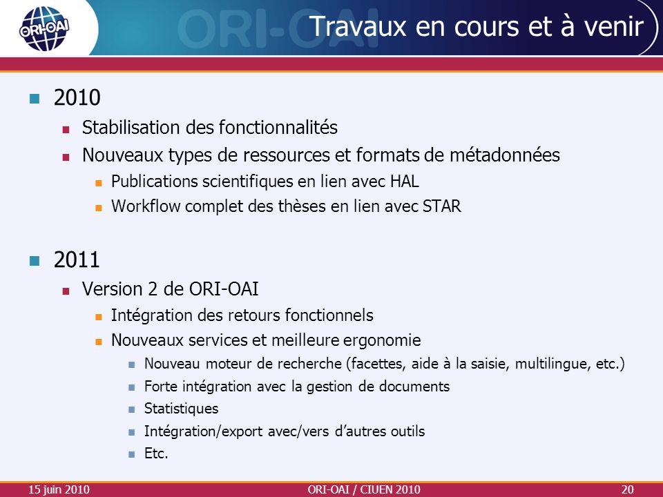 Travaux en cours et à venir 2010 Stabilisation des fonctionnalités Nouveaux types de ressources et formats de métadonnées Publications scientifiques e