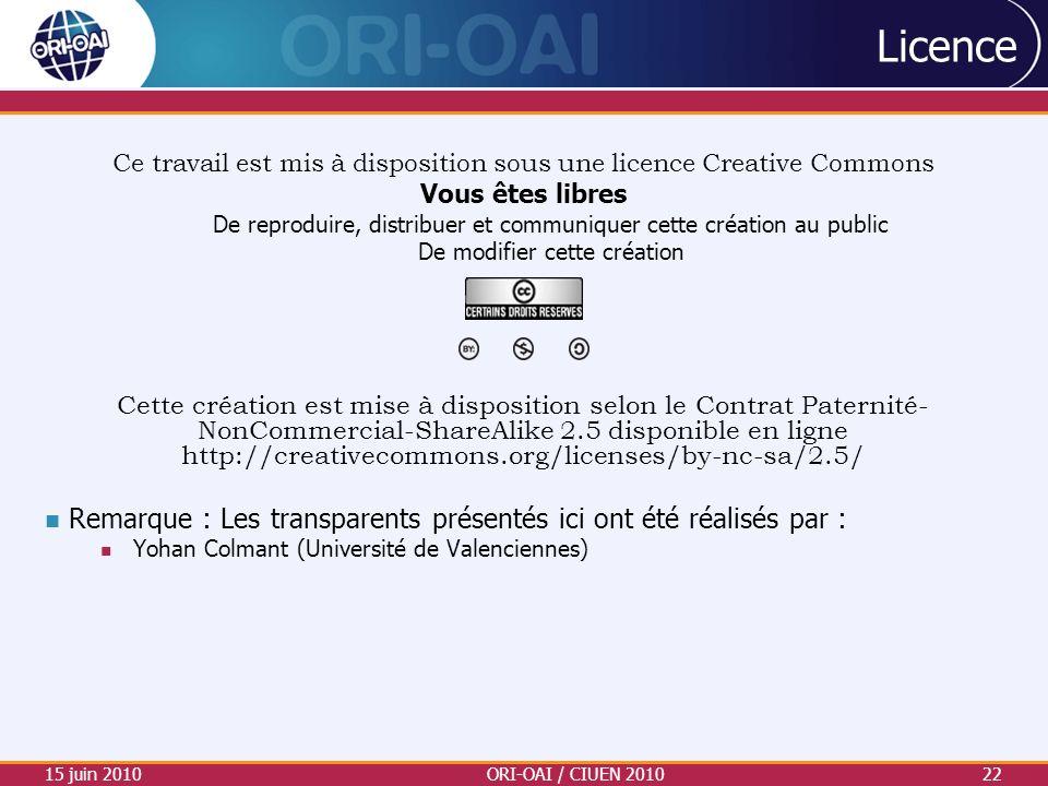 Licence Ce travail est mis à disposition sous une licence Creative Commons Vous êtes libres De reproduire, distribuer et communiquer cette création au