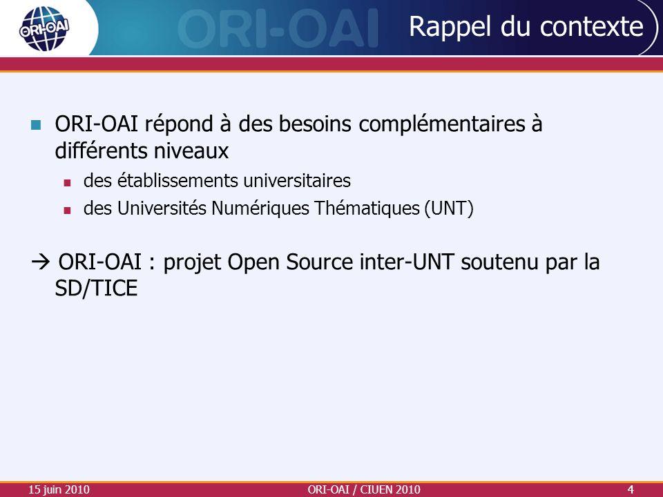 15 juin 2010ORI-OAI / CIUEN 20104 Rappel du contexte ORI-OAI répond à des besoins complémentaires à différents niveaux des établissements universitair