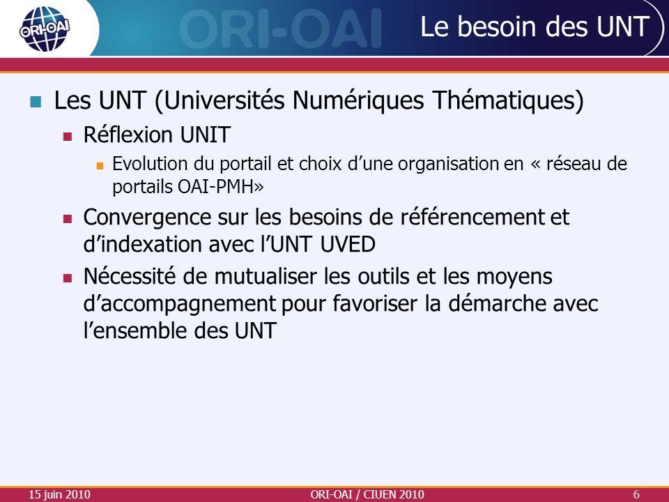 Le besoin des UNT Les UNT (Universités Numériques Thématiques) Réflexion UNIT Evolution du portail et choix dune organisation en « réseau de portails