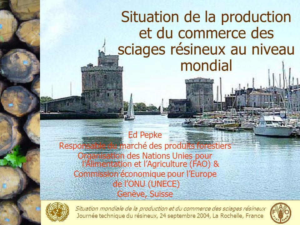 Situation mondiale de la production et du commerce des sciages résineux Journée technique du résineux, 24 septembre 2004, La Rochelle, France Exportations mondiale: Top 10 2002Million m3 1Canada36.0 2Suède11.5 3Russie8.6 4Finlande8.2 5Autriche6.3 6Allemagne3.9 7Chili2.3 8Lettonie2.3 9N.