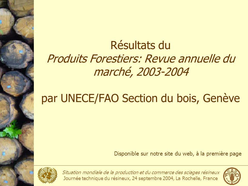 Situation mondiale de la production et du commerce des sciages résineux Journée technique du résineux, 24 septembre 2004, La Rochelle, France Résultat