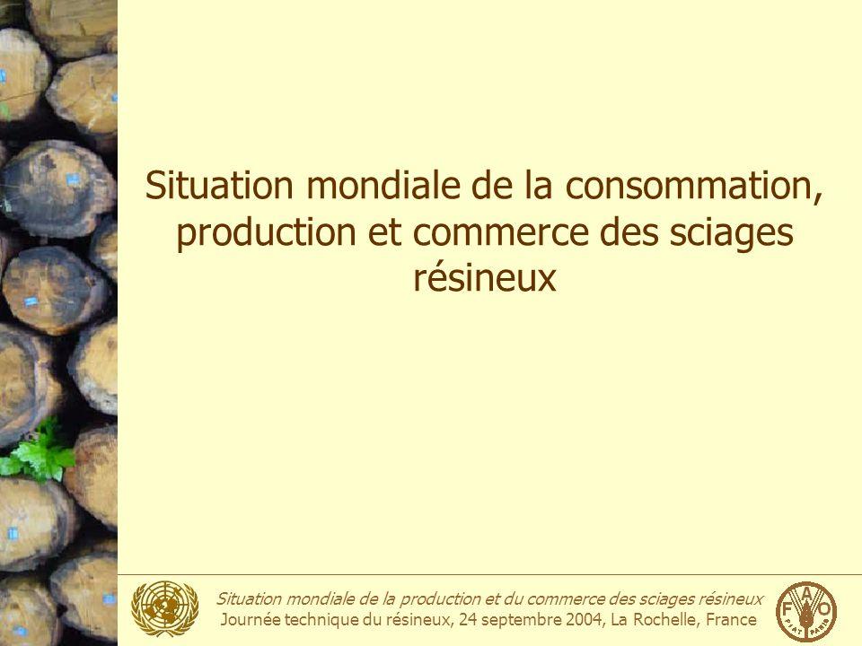 Situation mondiale de la production et du commerce des sciages résineux Journée technique du résineux, 24 septembre 2004, La Rochelle, France Consommation des sciages résineux Million m 3