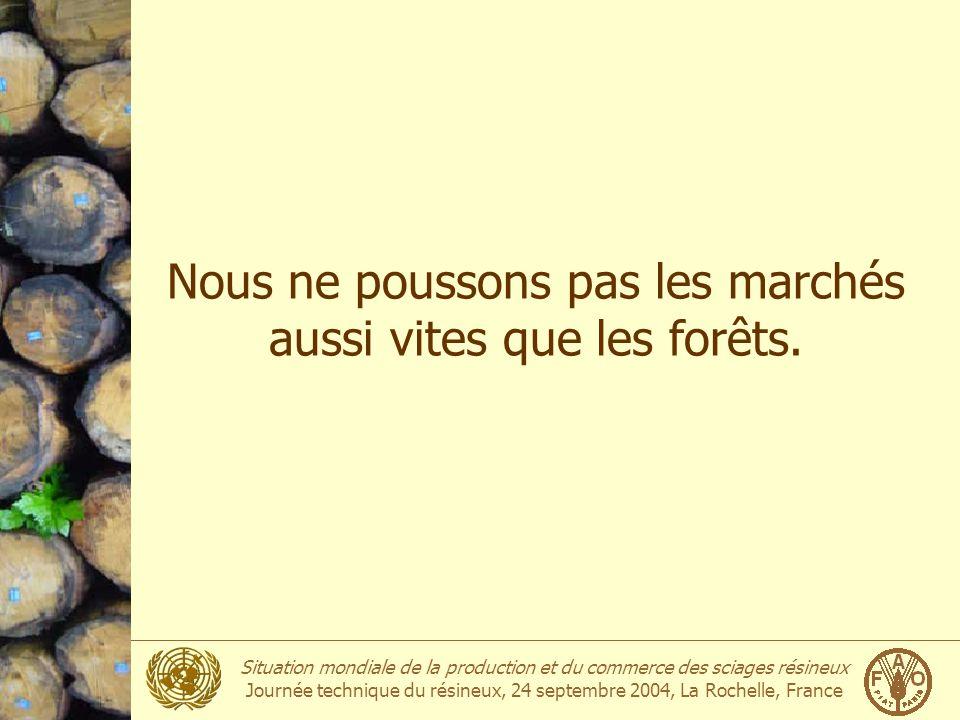 Situation mondiale de la production et du commerce des sciages résineux Journée technique du résineux, 24 septembre 2004, La Rochelle, France Nous ne