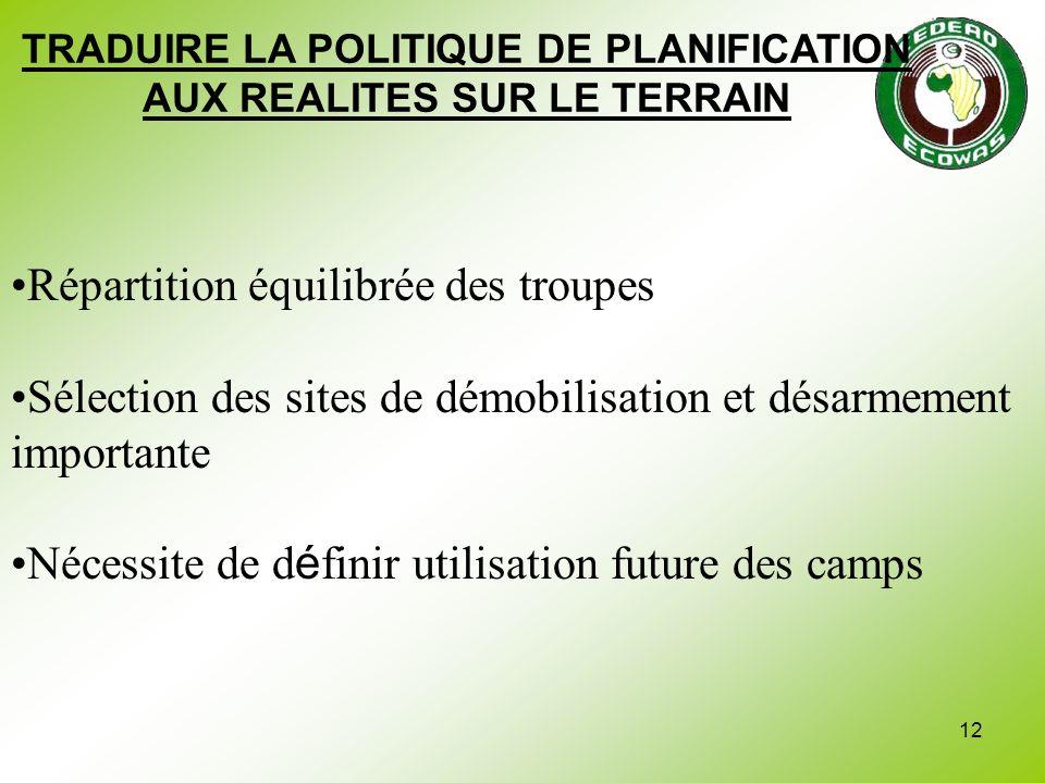 12 TRADUIRE LA POLITIQUE DE PLANIFICATION AUX REALITES SUR LE TERRAIN Répartition équilibrée des troupes Sélection des sites de démobilisation et désa