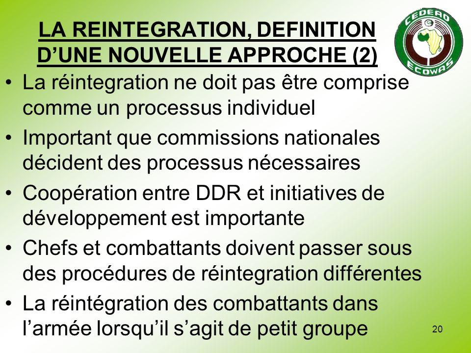 20 LA REINTEGRATION, DEFINITION DUNE NOUVELLE APPROCHE (2) La réintegration ne doit pas être comprise comme un processus individuel Important que comm