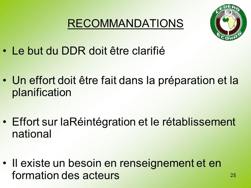 25 RECOMMANDATIONS Le but du DDR doit être clarifié Un effort doit être fait dans la préparation et la planification Effort sur laRéintégration et le