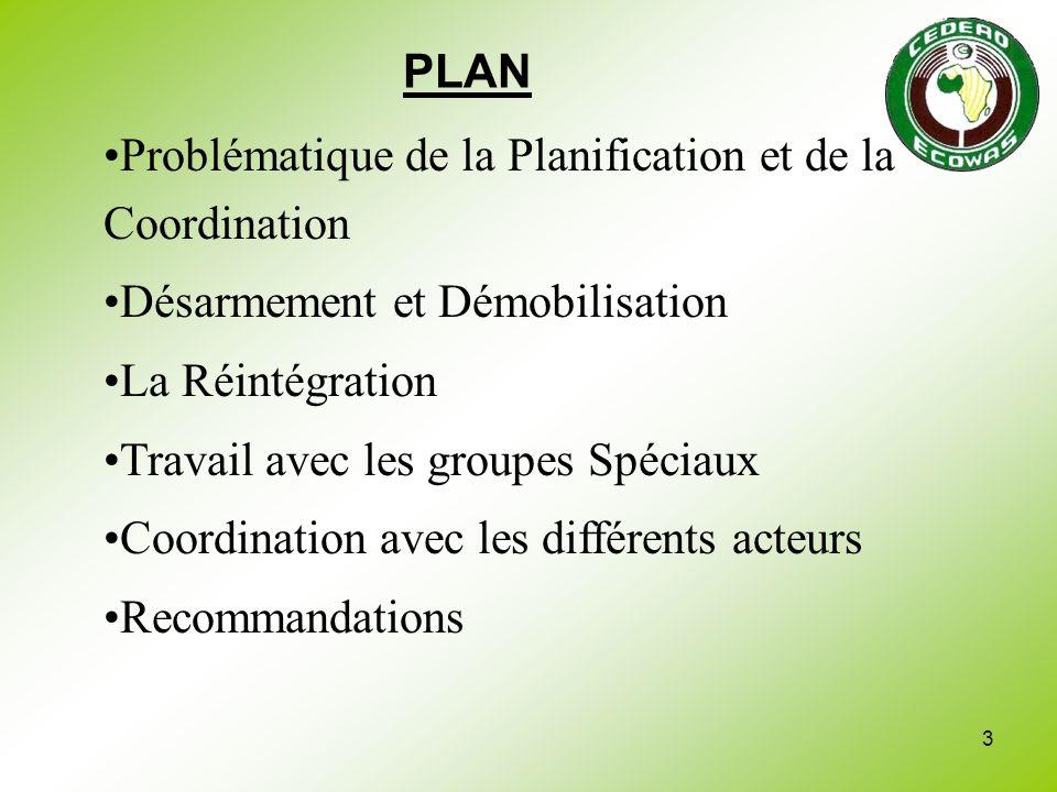 3 PLAN Problématique de la Planification et de la Coordination Désarmement et Démobilisation La Réintégration Travail avec les groupes Spéciaux Coordi