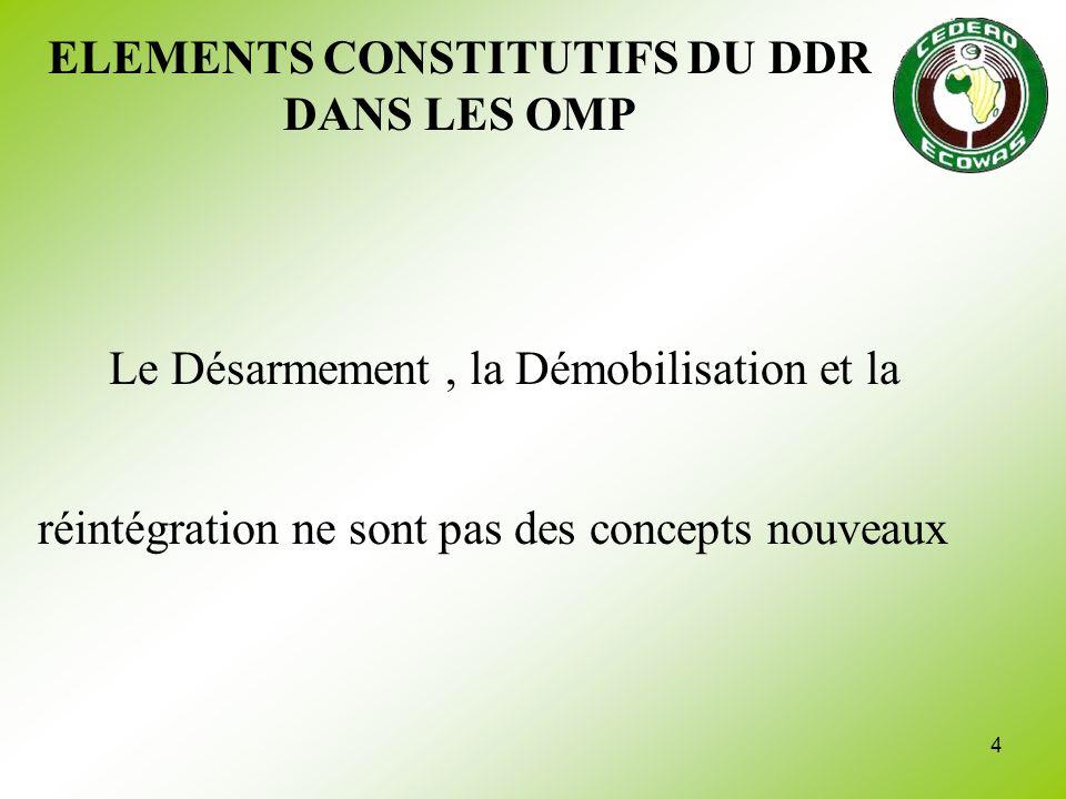 25 RECOMMANDATIONS Le but du DDR doit être clarifié Un effort doit être fait dans la préparation et la planification Effort sur laRéintégration et le rétablissement national Il existe un besoin en renseignement et en formation des acteurs
