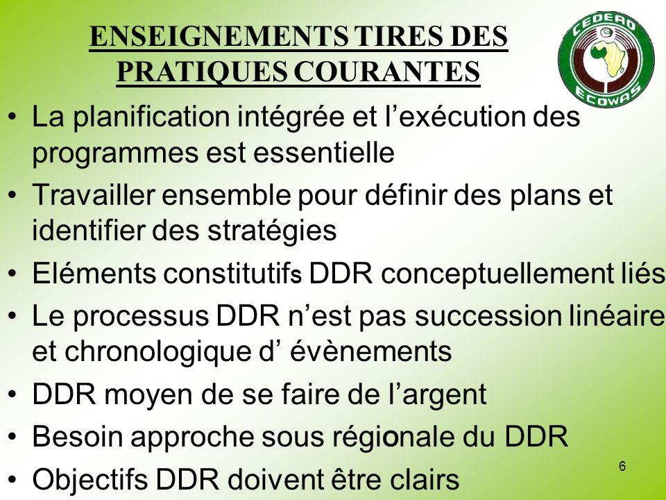 6 La planification intégrée et lexécution des programmes est essentielle Travailler ensemble pour définir des plans et identifier des stratégies Eléme