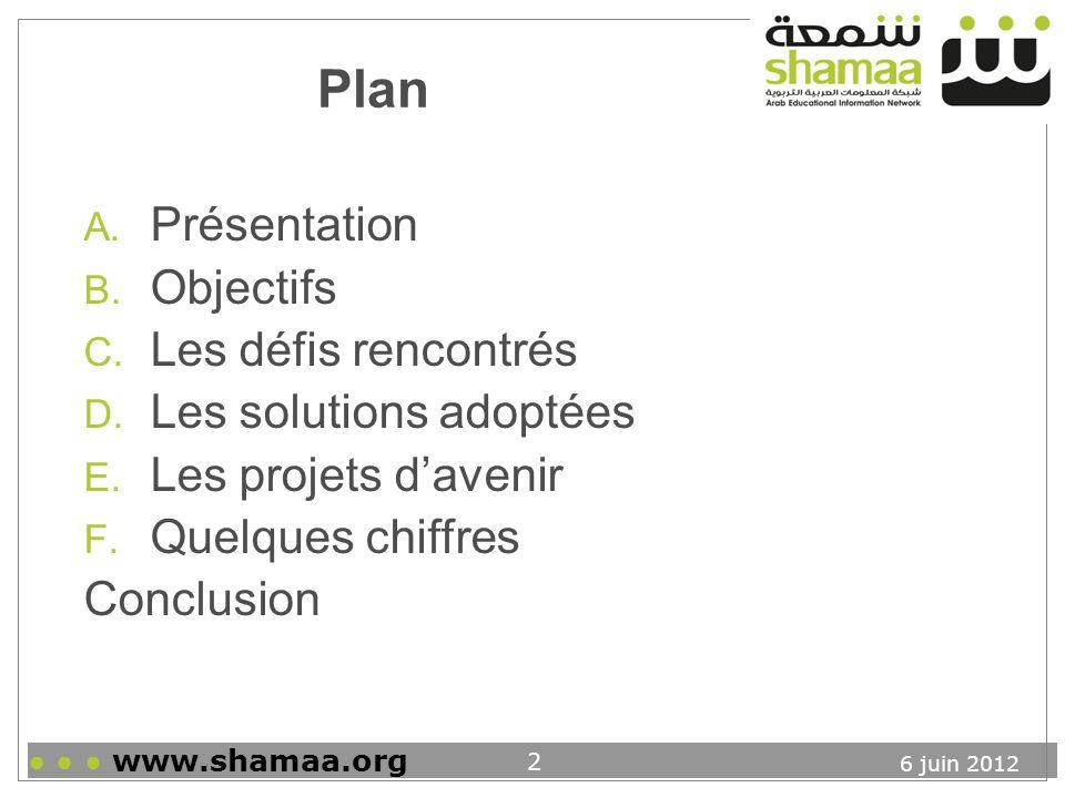 6 juin 2012 www.shamaa.org 13 D. Les solutions adoptées