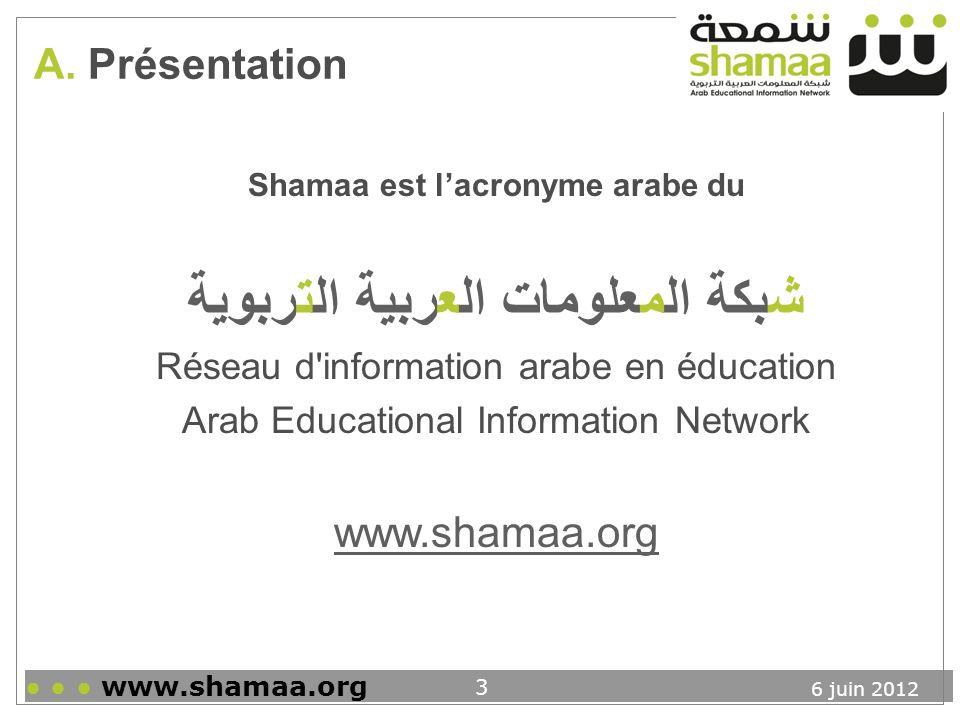 6 juin 2012 www.shamaa.org 24 Conclusion Principales caractéristiques Base de données classique qui permet: Recherche simple et recherche avancée Opérateurs booléens Troncatures Etc.