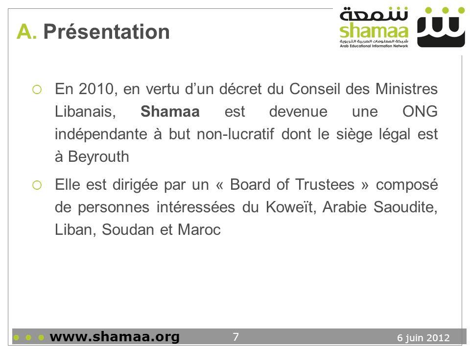6 juin 2012 www.shamaa.org 8 A.