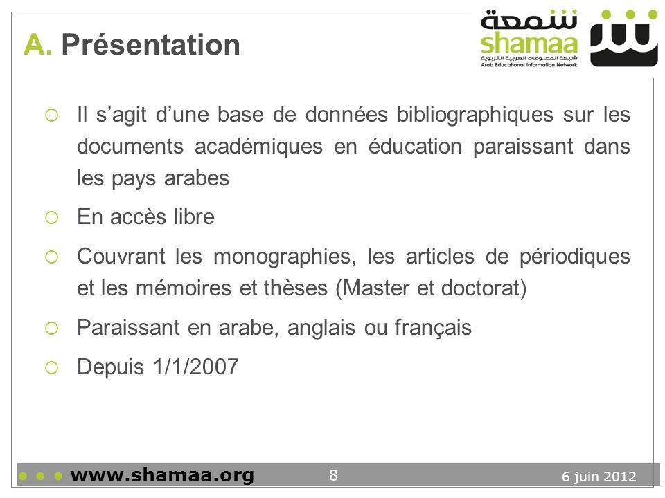 6 juin 2012 www.shamaa.org 9 A.