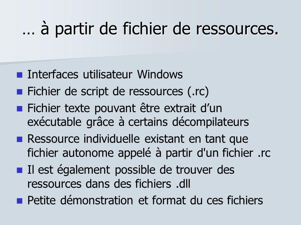 … à partir de fichier de ressources. Interfaces utilisateur Windows Fichier de script de ressources (.rc) Fichier texte pouvant être extrait dun exécu
