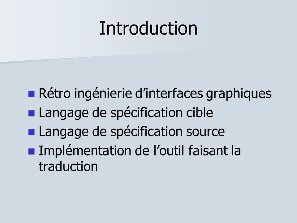 Introduction Rétro ingénierie dinterfaces graphiques Langage de spécification cible Langage de spécification source Implémentation de loutil faisant l