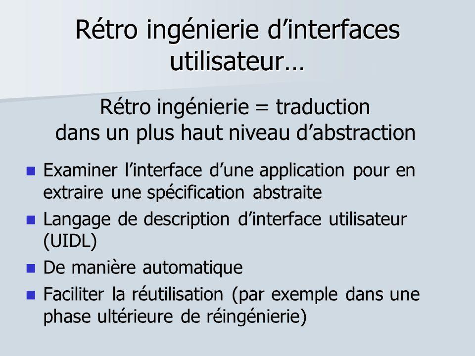 Rétro ingénierie dinterfaces utilisateur… Examiner linterface dune application pour en extraire une spécification abstraite Langage de description din