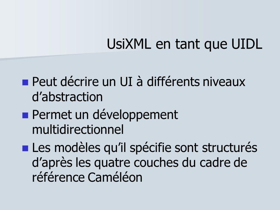 UsiXML en tant que UIDL Peut décrire un UI à différents niveaux dabstraction Permet un développement multidirectionnel Les modèles quil spécifie sont
