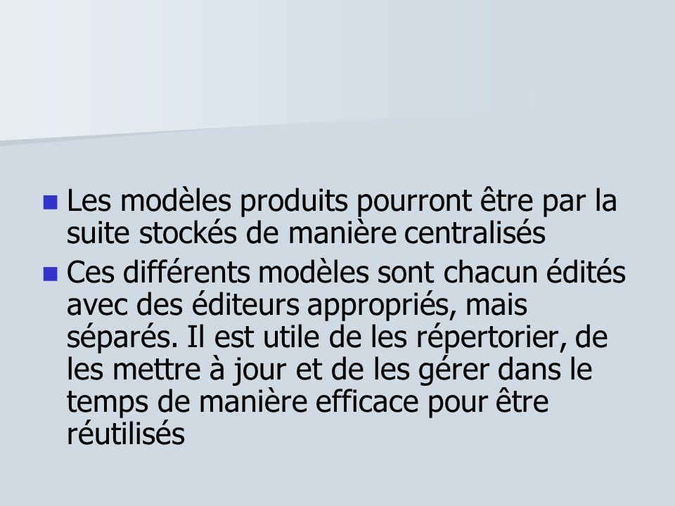 Les modèles produits pourront être par la suite stockés de manière centralisés Ces différents modèles sont chacun édités avec des éditeurs appropriés,