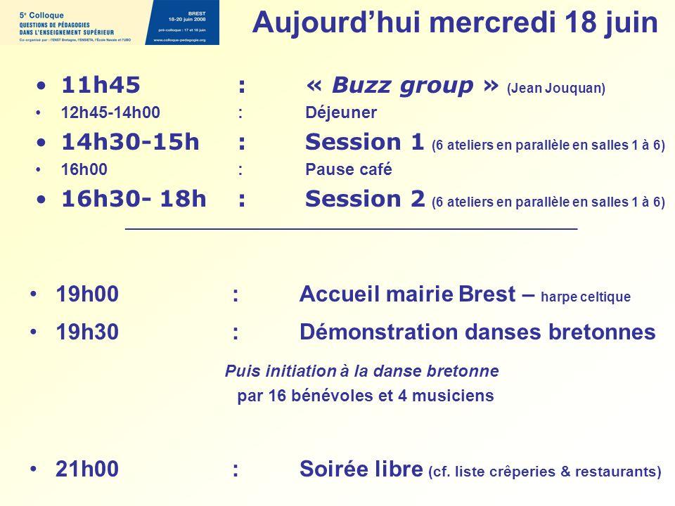 11h45 : « Buzz group » (Jean Jouquan) 12h45-14h00 : Déjeuner 14h30-15h : Session 1 (6 ateliers en parallèle en salles 1 à 6) 16h00 : Pause café 16h30-