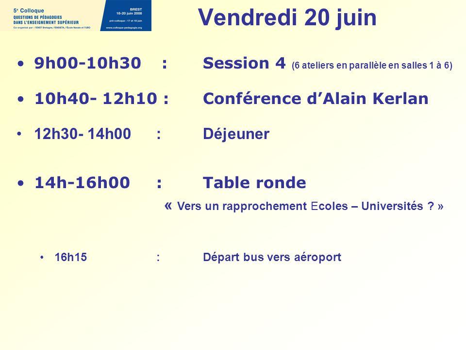 Vendredi 20 juin 9h00-10h30 : Session 4 (6 ateliers en parallèle en salles 1 à 6) 10h40- 12h10 : Conférence dAlain Kerlan 12h30- 14h00 : Déjeuner 14h-