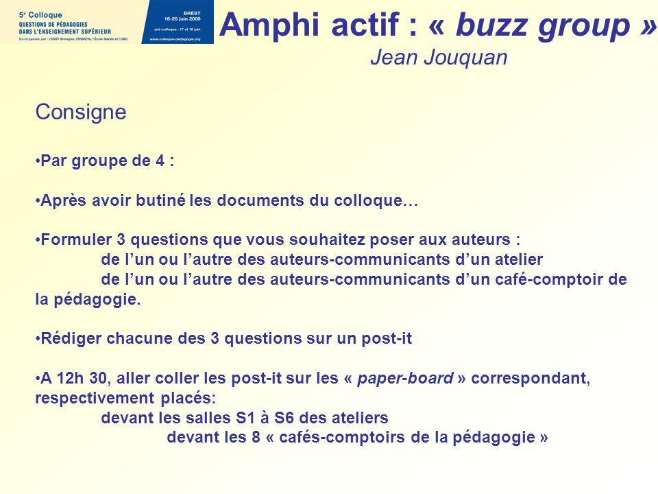 Amphi actif : « buzz group » Jean Jouquan Consigne Par groupe de 4 : Après avoir butiné les documents du colloque… Formuler 3 questions que vous souha