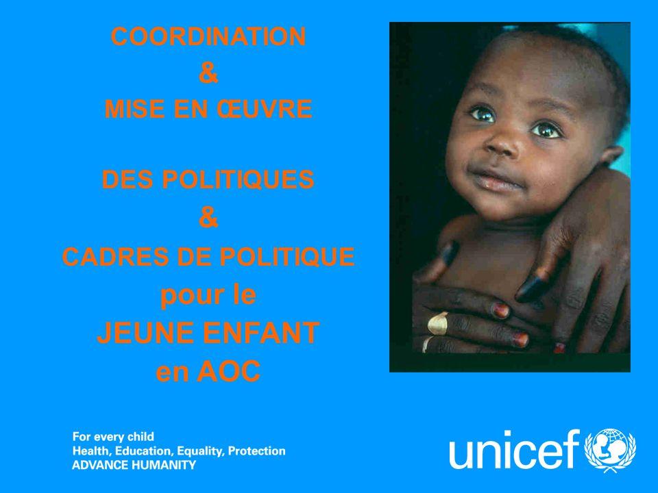 COORDINATION & MISE EN ŒUVRE DES POLITIQUES & CADRES DE POLITIQUE pour le JEUNE ENFANT en AOC