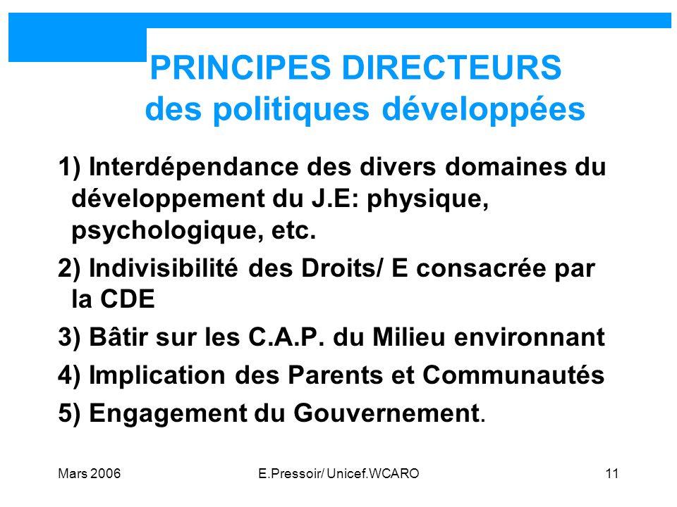 Mars 2006E.Pressoir/ Unicef.WCARO11 PRINCIPES DIRECTEURS des politiques développées 1) Interdépendance des divers domaines du développement du J.E: ph