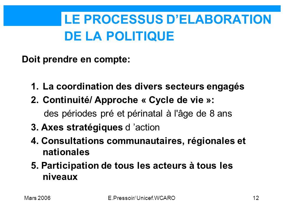 Mars 2006E.Pressoir/ Unicef.WCARO12 LE PROCESSUS DELABORATION DE LA POLITIQUE Doit prendre en compte: 1.La coordination des divers secteurs engagés 2.