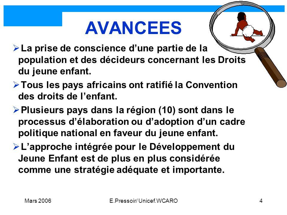 Mars 2006E.Pressoir/ Unicef.WCARO4 AVANCEES La prise de conscience dune partie de la population et des décideurs concernant les Droits du jeune enfant