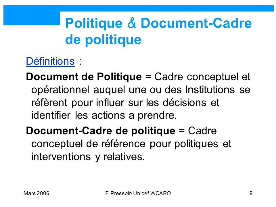 Mars 2006E.Pressoir/ Unicef.WCARO9 Politique & Document-Cadre de politique Définitions : Document de Politique = Cadre conceptuel et opérationnel auqu