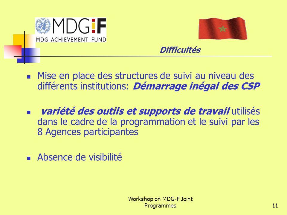 Workshop on MDG-F Joint Programmes11 Difficultés Mise en place des structures de suivi au niveau des différents institutions: Démarrage inégal des CSP