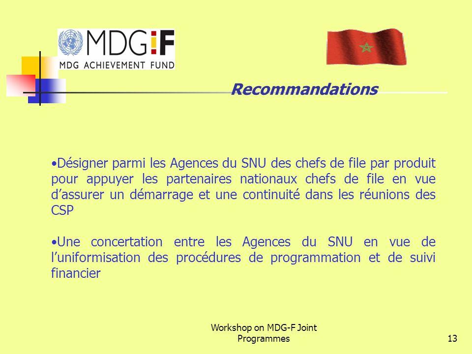 Workshop on MDG-F Joint Programmes13 Recommandations Désigner parmi les Agences du SNU des chefs de file par produit pour appuyer les partenaires nati