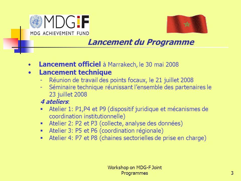 Workshop on MDG-F Joint Programmes3 Lancement du Programme Lancement officiel à Marrakech, le 30 mai 2008 Lancement technique -Réunion de travail des