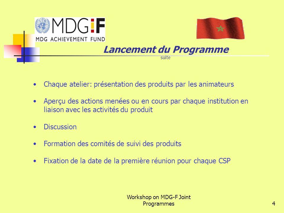 Workshop on MDG-F Joint Programmes4 Lancement du Programme suite Chaque atelier: présentation des produits par les animateurs Aperçu des actions menée