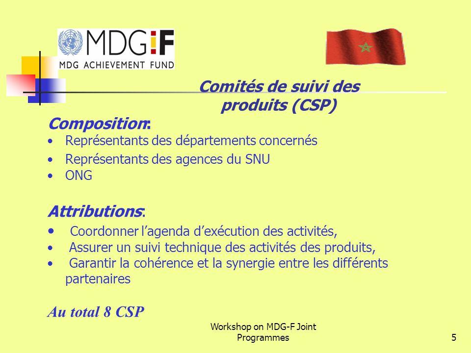 Workshop on MDG-F Joint Programmes5 Composition: Représentants des départements concernés Représentants des agences du SNU ONG Attributions: Coordonne