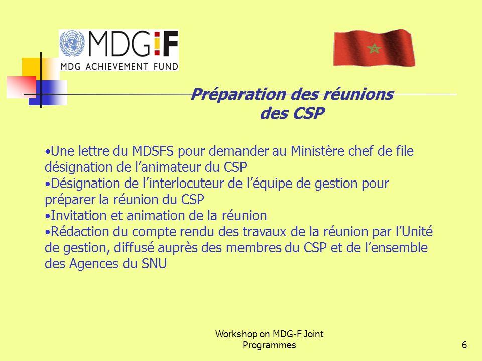 Workshop on MDG-F Joint Programmes6 Préparation des réunions des CSP Une lettre du MDSFS pour demander au Ministère chef de file désignation de lanima