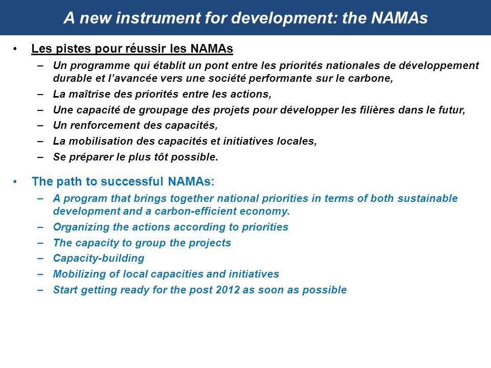 A new instrument for development: the NAMAs Les pistes pour réussir les NAMAs –Un programme qui établit un pont entre les priorités nationales de déve