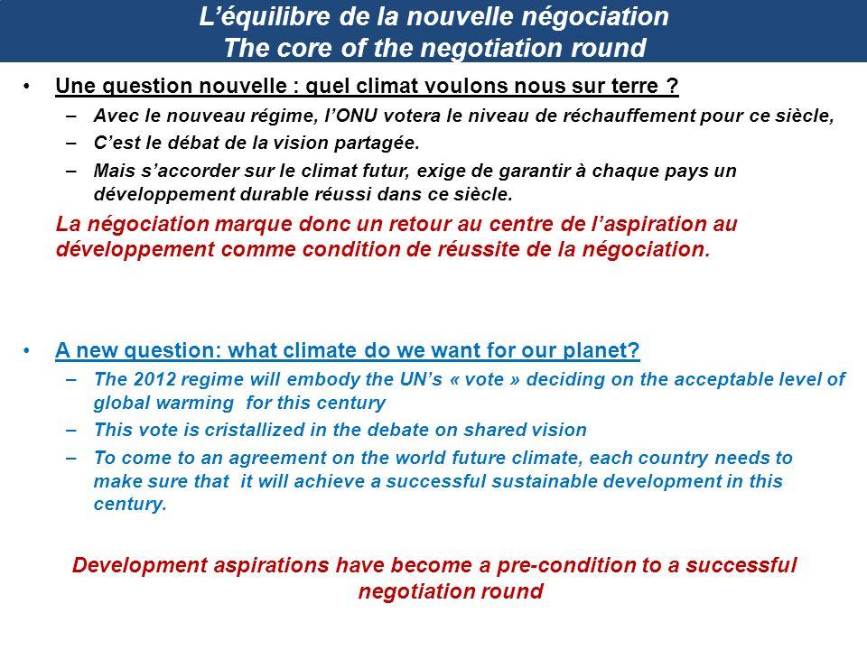 Léquilibre de la nouvelle négociation The core of the negotiation round Une question nouvelle : quel climat voulons nous sur terre ? –Avec le nouveau