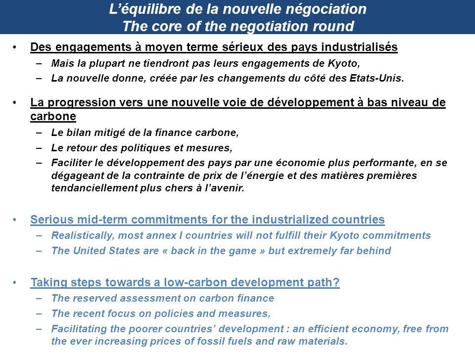 Léquilibre de la nouvelle négociation The core of the negotiation round Des engagements à moyen terme sérieux des pays industrialisés –Mais la plupart