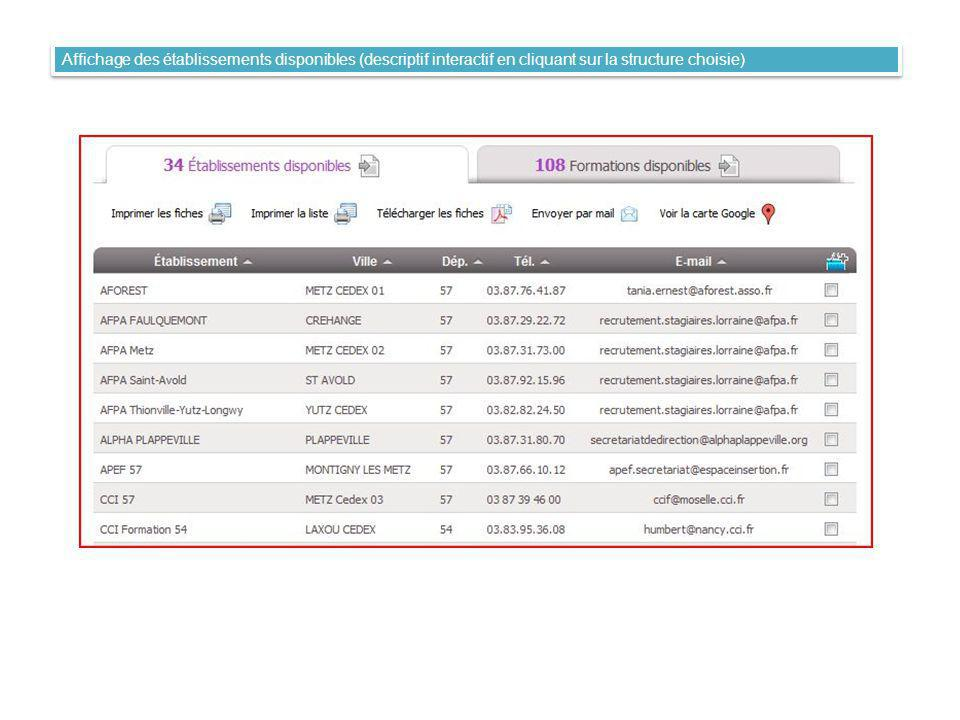 Affichage des formations disponibles (descriptif interactif en cliquant sur la fiche choisie)