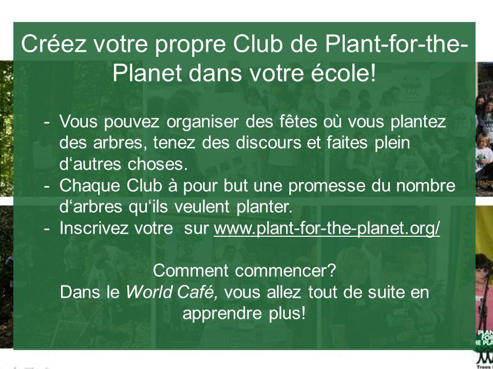Créez votre propre Club de Plant-for-the- Planet dans votre école! -Vous pouvez organiser des fêtes où vous plantez des arbres, tenez des discours et