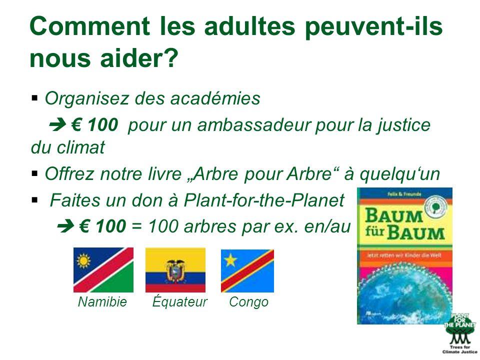 Organisez des académies 100 pour un ambassadeur pour la justice du climat Offrez notre livre Arbre pour Arbre à quelquun Faites un don à Plant-for-the