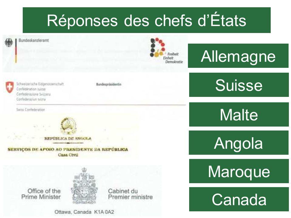Suisse Angola Canada Réponses des chefs dÉtats Allemagne Malte Maroque