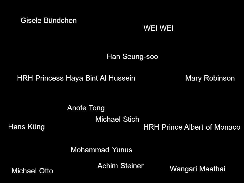 Gisele Bündchen WEI HRH Prince Albert of Monaco HRH Princess Haya Bint Al Hussein Hans Küng Achim Steiner Anote Tong Han Seung-soo Mary Robinson Moham